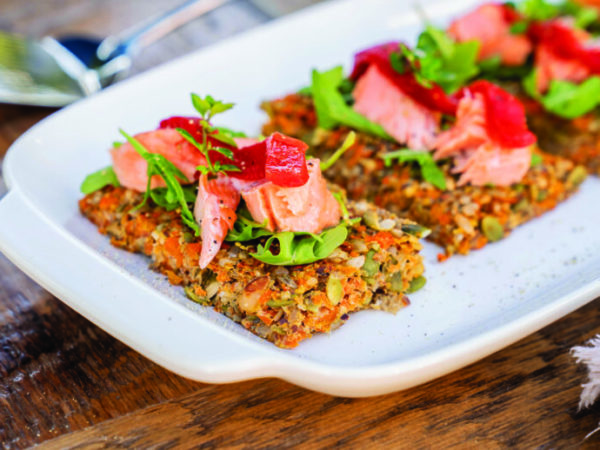 Seedy Carrot Flatbreads with Roasted Salmon